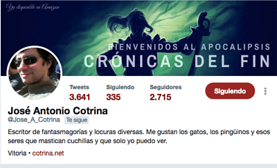 Perfil de Twitter José Antonio Cotrina