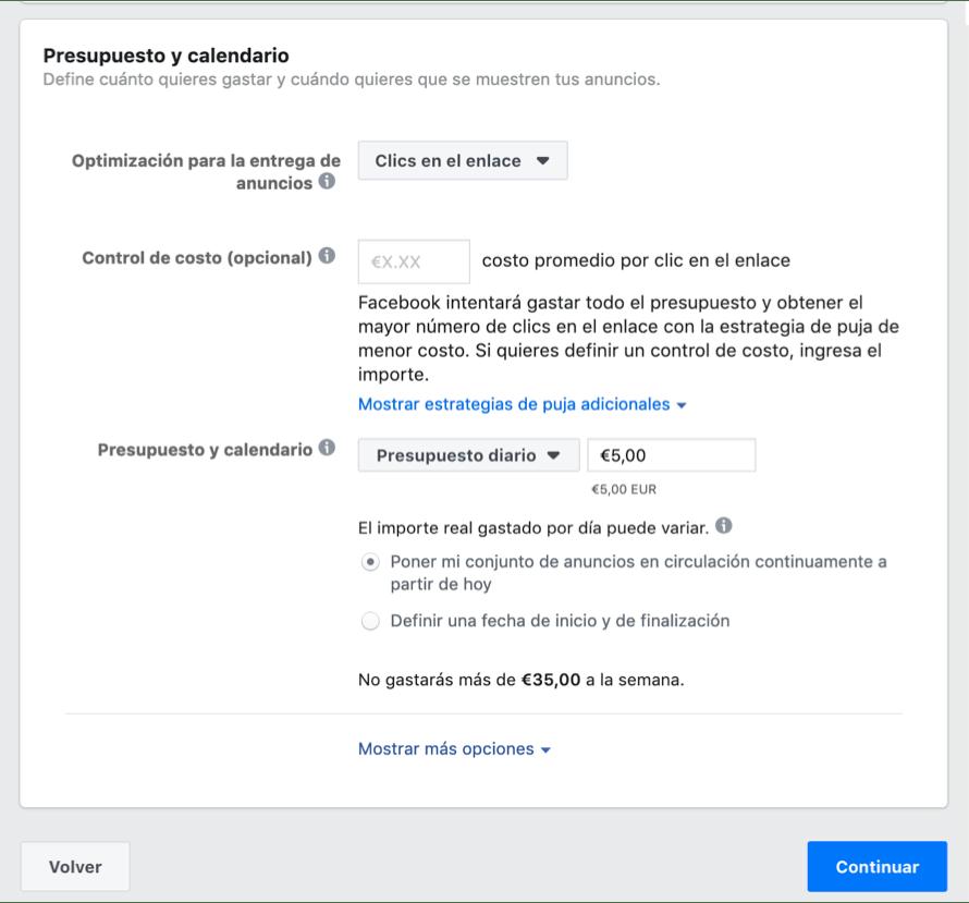 Presupuesto Facebook Ads
