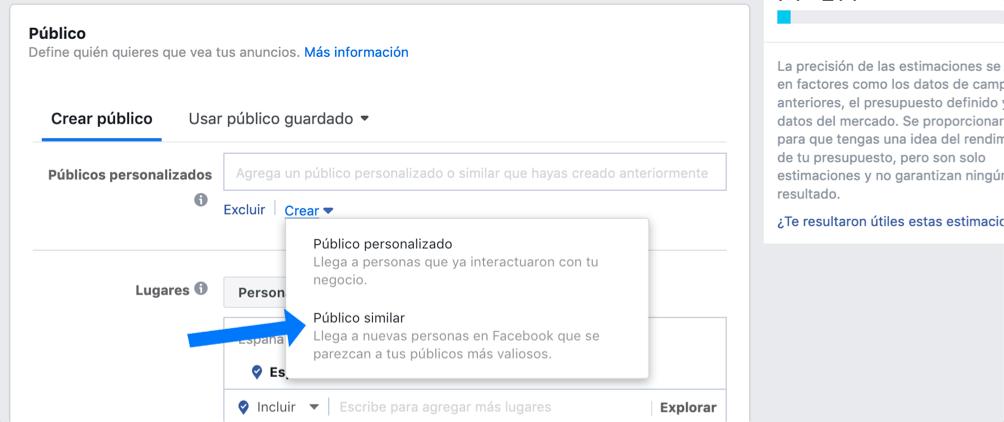 Público personalizado en Facebook Ads 1